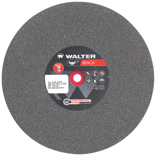 Walter 12E647 10X1X1 General Purpose Bench Grinding Wheel Type 1, 60 FINE