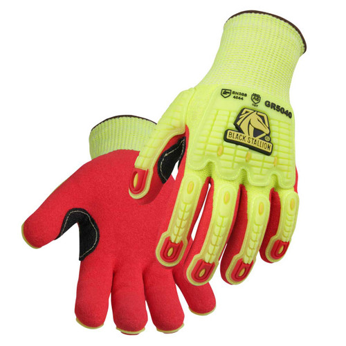 Black Stallion GR5040 AccuFlex Cut Resistant Glove, Impact Resistant Back, Nitrile Coated, Hi-Vis, Small