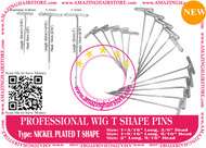 """50CT 1.2"""" Steel T Pins with Nickel Finish Making Men`s Toupee Hairpiece Lace Wigs"""