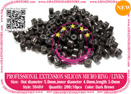 Silicon Micro Ring for 100% Remy Human Hair I tip fusion extensions-5040-Dark Brown