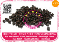 Silicon Micro Ring for 100% Remy Human Hair I tip fusion extensions-4535-Brown