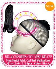 24pcs Black Mesh Wig Caps for Lace Front Hair Wigs