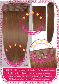 """19"""" 9pcs 100% Human Hair clip in hair extension - 30#"""