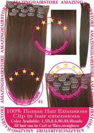"""19"""" 9pcs 100% Human Hair clip in hair extension - 4#"""