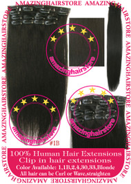 "19"" 9pcs 100% Human Hair clip in hair extension - 1B#"
