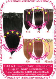 "15"" 9PCS 100% Human Hair Clips In Extensions -1#"