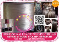 100m Strong Ultra Stretchy Elastic Weaving Thread for Brazilian Knot Extensions Jewelry Bracelet-White