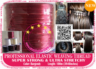 100m Strong Ultra Stretchy Elastic Weaving Thread for Brazilian Knot Extensions Jewelry Bracelet-Burgendy