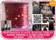 3X10m Strong Ultra Stretchy Elastic Weaving Thread for Brazilian Knot Extensions Jewelry Bracelet-Burgendy