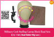 NEW Millinery Cork Canvas Block Head+holder+lace for Lace Wigs Making