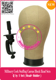 NEW Millinery Cork Canvas Block Head + Holder for Lace Wigs Making