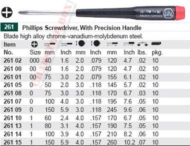 WIHA 26110 Precision Phillips #1 X 60