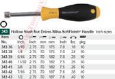 WIHA 34338 SoftFinish Nut Dr Hollow Shaft 1/4