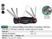 WIHA 35198 PocketStar Fold Out Hex-Slot-Ph 6Pc