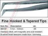 WIHA 46987 Fine Hooked Tweezers 6 SA  - 120mm