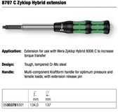 WERA 05003781001 8797 ZYKLOP HYBRID EXTENSION FOR USE WITH WERA ZYKLOP HYBRID 8006 C