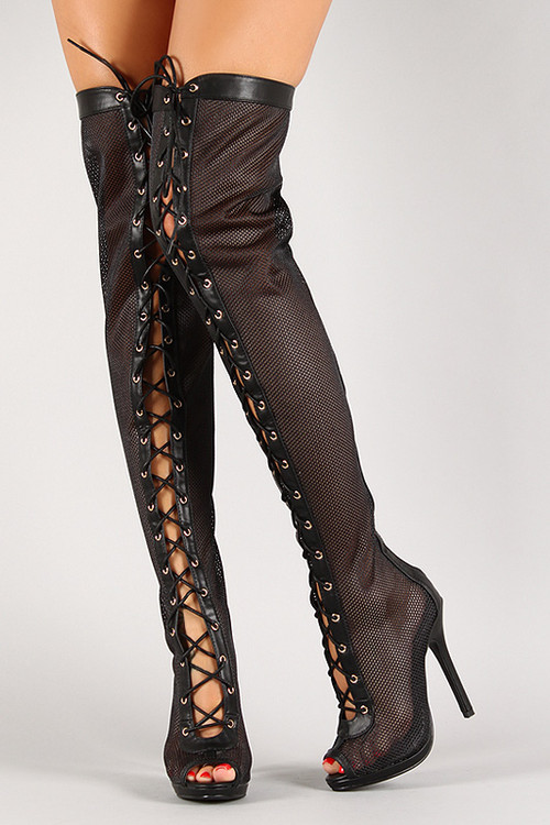 mesh leatherette lace up peep toe thigh high boot
