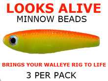 snell making components Looks Alive Minnow Beads CHART/ORANGE