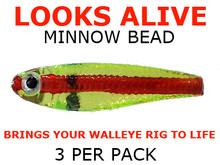 Looks Alive Minnow Beads CHARTREUSE REDLINE SHAD