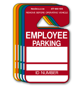 Employee Parking Permit Hang Tags - 25 Pack