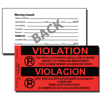 Our PV-05 Parking Violation Stickers / Parking Infringement Stickers are designed to notify offenders that they have improperly parked.