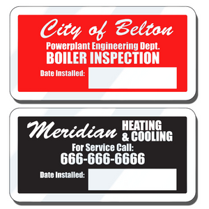 2 X 1 1/2 Inch Embossable Aluminum Stickers can be embossed using a ballpoint pen or typewriter. These embossable aluminum stickers are a great way to display your company information and phone numbers.