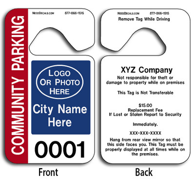 Custom Parking Hang Tag Permits allow endless design possibilities and project a professional image. These durable Custom Parking Hang Tag Permits are UV laminated front and back to give you the strongest parking permit available. Order today and get Free Numbering and Free Back Printing.