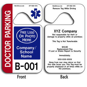 These durable Custom Parking Hangers are UV laminated front and back to give you the strongest parking permit available. Order today and get Free Numbering and Free Back Printing. These Hang Tags measure are 2 3/4 x 4 3/4 inches.