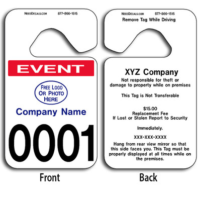These durable Custom Parking Hangers are UV laminated front and back to give you the strongest parking permit available. Order today and get Free Numbering and Free Back Printing.
