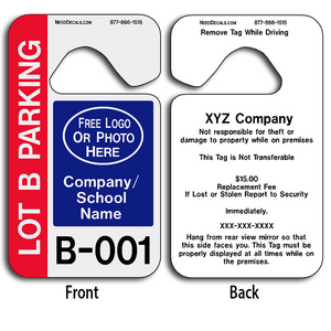 Parent Pickup Tags allow endless design possibilities and project a professional image. These durable Parent Pickup Tags are UV laminated front and back to give you the strongest parking permit available. Order today and get Free Numbering and Free Back Printing