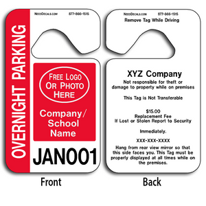 4-Color Process Overnight Parking Pass Hang Tags allow endless design possibilities and project a professional image.