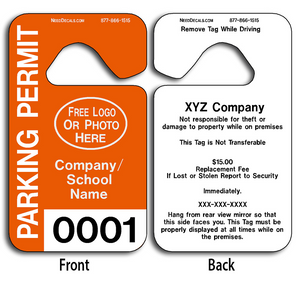 These durable Plastic Hang Tags are UV laminated front and back to give you the strongest parking permit available. Order today and get Free Numbering and Free Back Printing. These Hang Tags measure are 2 3/4 x 4 3/4 inches.