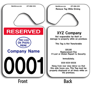 These durable Custom Reserved Parking Permit Hang Tags are UV laminated front and back to give you the strongest parking permit available. Order today and get Free Numbering and Free Back Printing. These Hang Tags measure are 2 3/4 x 4 3/4 inches.
