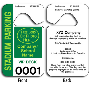 Custom Parking Passes are UV laminated front and back to give you the strongest parking permit available. Order today and get Free Numbering and Free Back Printing.