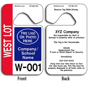 These Large Number Hang Tags are UV laminated front and back to give you the strongest parking permit available. Order today and get Free Numbering and Free Back Printing. These Hang Tags measure are 2 3/4 x 4 3/4 inches.