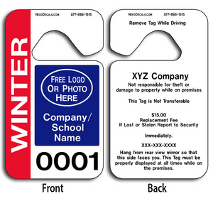 These durable High School Parking Permits are UV laminated front and back to give you the strongest parking permit available. Order today and get Free Numbering and Free Back Printing. These Hang Tags measure are 2 3/4 x 4 3/4 inches.