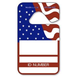 Patriotic Car Hang Tags are in stock and ready to ship. These Patriotic Car Hang Tags project a professional image and help solve your parking problems. Available in Stock Ink Colors shown. Permits measure 2 3//4 x 4 3/4 inches. Patriotic Car Hang Tags are printed on heavy duty .035 inch material to give you the strongest parking permit available. Order today and get Free Custom Decals to make you tags unique.