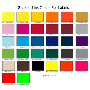Standard Color Chart - Indoor Products