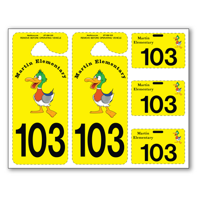 We are happy to offer our popular Parent Pick-Up Kit™ in four different configurations this year. These sheets make registration much easier and faster with no small tags to loose. Parents simply punch out the tags – no scissors needed. These full color plastic tags are extremely durable, convenient to use and are printed in photo quality. We can include a photo of your school or mascot against a white or colored background. There are endless design possibilities.