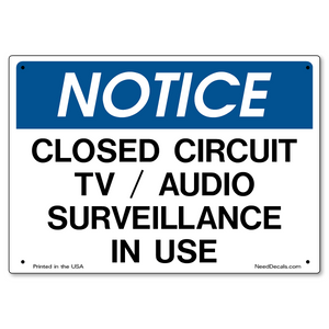 CCTV / Audio Surveillance Sign - 10 x 7 inches