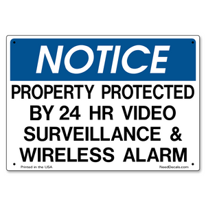 Video Surveillance & Wireless Alarm Sign - 10 x 7 inches