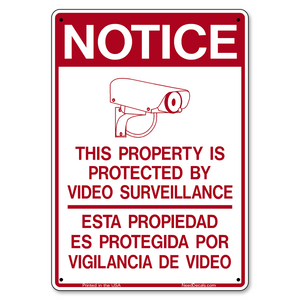 G400 Bilingual Property Protected by Video Surveillance Sign - 7 x 10 inches