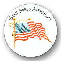 "GOD Bless America Round Stickers ( 2 3/4"" diameter ) - Roll of 100"