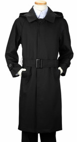 Boy's Black Trench Rain Coat