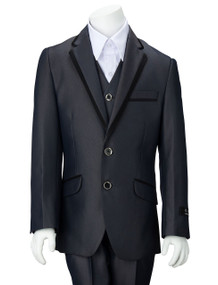 Boy's Blue-Gray Wedding Suit With Satin Trim