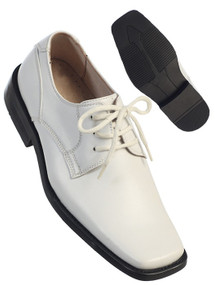 Boys White Leather Lace-up Shoe