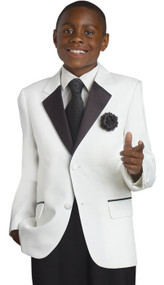 Boy's Communion 2 Piece White Suit With Black collar