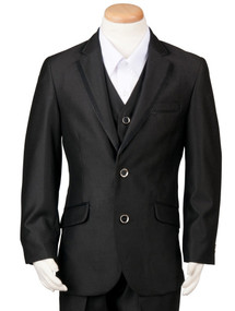 Boy's 3 Piece Black Husky Suit with Satin Trim