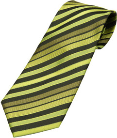 Boy's Green Striped Zipper Tie