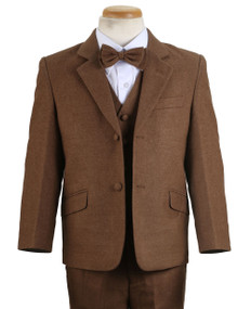 Boy's Camel Wool-Look 4 Piece Suit Slim Fit